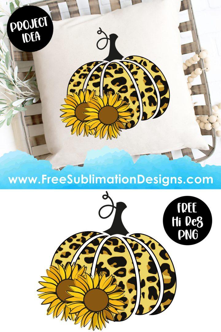 Halloween Fall Leopard Print Pumpkin Sunflowers Sublimation Print