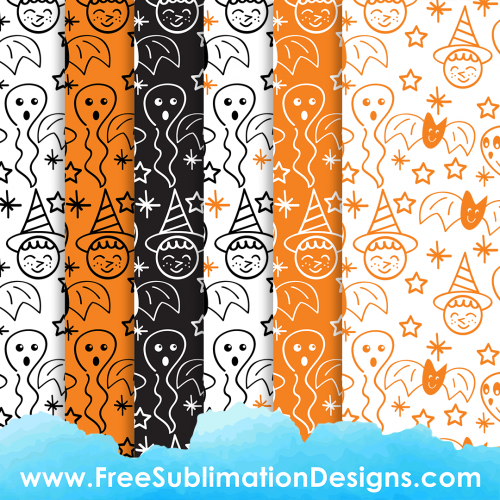 Halloween Cute Digital Paper Sublimation Print