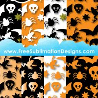 Halloween Skulls Digital Paper Sublimation Print